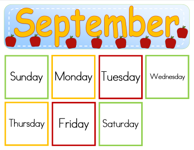 September Preschool Calendar Numbers
