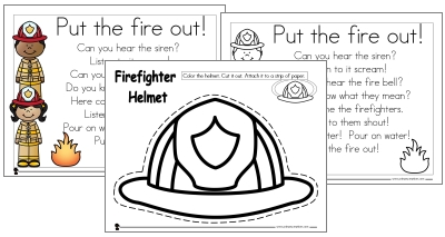 firefighter hat template preschool - firefighter preschool pack